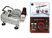 PAASCHE VLS AIRBRUSH SET w/Quiet Kit Airbrush Depot 1 Year Warranty Tankless Compressor and 6 Foot Air Hose Set