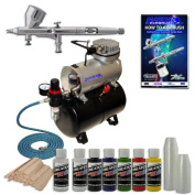 Complete Precision High Detail Control Airbrush System G44 High Detail Control Precision Dual-Action Airbrush Set with Air Hose and Quiet TC-20T Air Compressor with Tank