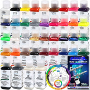 TESTORS - AZTEK Premium COMPLETE Acrylic Airbrush Paint ALL 38-Colour Set with FREE Colour Wheel & How to Airbrush Manual