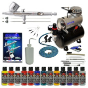 Master Multi-Purpose Wicked Colours Deluxe Airbrushing System Master Airbrush Model G233 Gravity Feed, and Model TC-20T Professional Air Compressor, Simple Airbrush Holder, Cleaning Kit FREE Airbrush Cleaning Brushes And FREE How To Airbrush Book