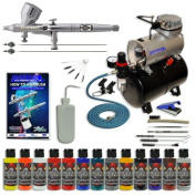 Master Multi-Purpose Deluxe Precision High Detail Control Master Airbrush Model G444 Gravity Feed, and Model TC-20T Professional Air Compressor, 11 Colour Createx Wicked Airbrush Paint Set, Simple Airbrush Holder, Cleaning Kit FREE Airbrush Cleaning Br ..