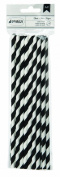 American Crafts 24 Count Lined Paper Straws, Black