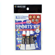 Miracle Paint, Removable Face & Body Painting, SPORTS Kit, Tube 4ml, Included 3 colours and 5 stencils, Made in Japan