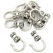 10 Sterling Silver Cord End Hook Cap Bead Beading 2.4mm