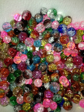 Glass Lamp Crackle Bead Mix 6mm & 8mm Mix Two Tones/solids 75 Beads, Free Coordinating Crystals