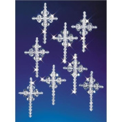 The Beadery Holiday Beaded Ornament Kit Crystal Crosses 1.25' Makes 6