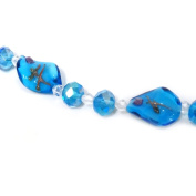 Fiona 18cm Twisted Leaf Lampwork Glass Bead Strand, Turquoise