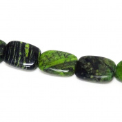Fiona Gemstone Bead Strand, 19 by 25mm, Green/Black