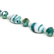 Fiona 18cm Flat Oval Lampwork Glass Bead Strand, Emerald