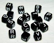 JOLLY STORE Crafts 6mm Black Cube Alphabet Beads 250pc