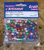 Beads Plastic Crow Beads Metallic 9 Mm Multi Colour 75 Pieces Arts & Crafts