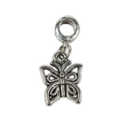 Antique Silver Butterfly European Alloy Dangle Beads