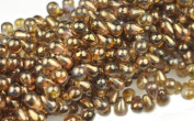 100 Trans Gold Czech Glass Teardrop Beads Tear drops 6MM