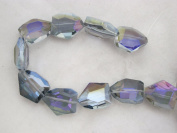 Glass Crystal Beads Purple AB Colour Faceted Pentagon Shape 20x25mm 10pcs 10''per Stand