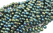 100 Green Iris Czech Glass Teardrop Beads Tear drops 6MM