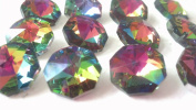 14mm Vitrail Rainbow Octagon Chandelier Crystals Prism Beads Pack of 12