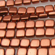 Czechmate 6mm Square Glass Czech Two Hole Tile Bead - Matte Metallic Copper