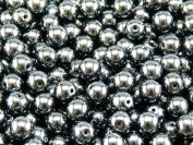 50 pcs Czech Glass Pressed Beads Druk Round 6 mm Jet Hematite