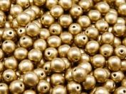 50 pcs Czech Glass Pressed Beads Druk Round 6 mm Crystal Bronze Pale Gold