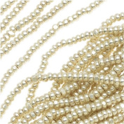 Czech Single Cut Charlotte Seed Beads 13/0 Metallic Silver Terra 1/2 Hank