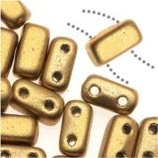 CzechMates Glass 2-Hole Rectangle Brick Beads 6x3mm - Matte Metallic Flax /1 Str