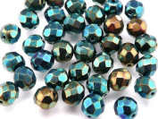 25pcs Czech Fire-Polished Faceted Glass Beads Round 8mm Green Iris