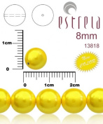 30pcs Czech Glass Pearl Beads Round 8 mm Pastel Yellow