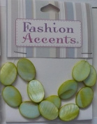12 pc Lime Mother of Pearl 18MM Oval Beads - Fashion Accents by Cousin - #3475011