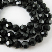 Crystal Glass Beads 4mm Round Faceted, Black Colour