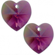 2 Amethyst AB. Crystal Heart Charm 14mm New