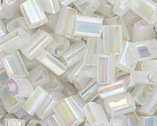 Czech Glass 3x5mm Rectangle Nibblette Bead.Translucent Lustre Rainbow White