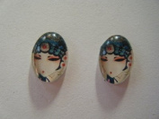 Glass Cabochon with Art Deco Inspired Lady Oval 13x18mm X 2pcs