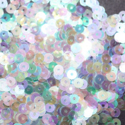 4mm FLAT ROUND SEQUINS ~ CRYSTAL IRIS RAINBOW IRIDESCENT Cool Hue ~ Loose paillette sequins for embroidery, applique, arts, crafts, and embellishment. Made in USA