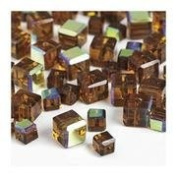 """7"""" Cut Crystal Beads Gold Cube 4 & 6mm"""