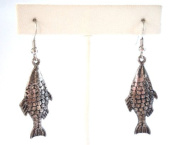 Antique Silver Metal Fish Earring