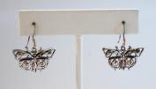 Antique Silver Metal Filigree Butterfly Earring