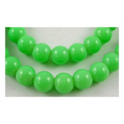 Glass Beads, Strand, Dyed & Baked Painted, 6mm Round, Opaque Green, Approx 147 Beads/strand