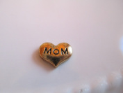 Floating Gold Mom Heart for Glass Lockets