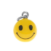 Hand Painted 3-D Yellow Happy Smiley Face Charm 16mm