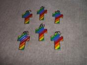 Rainbow Cross Enamel Charms
