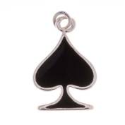 Silver Plated With Enamel Black Spades Playing Card Suit Charm