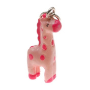 Hand Painted 3D Resin Charm - Geronimo The Giraffe - Pink 22mm