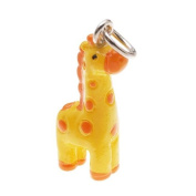 Hand Painted 3D Resin Charm - Geronimo The Giraffe - Yellow 22mm