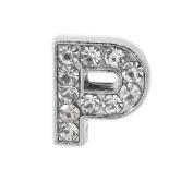 """12x Alphabet Slide Charm, Letter """"P"""", 8mm"""
