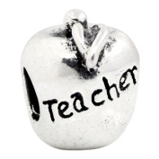 Silver Tone Apple Fruit Teacher Charm Spacer Bead Fits European Pandora Troll Pugster Other Type Bracelet