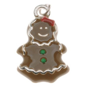 Silver Plated With Enamel - Gingerbread Girl Charm 23mm