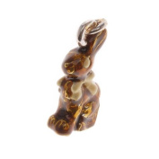 Silver Plated Enamel Chocolate Easter Bunny W/ Yellow Ribbon Charm 17mm