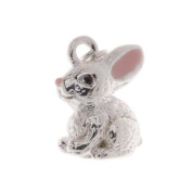 Silver Plated With Enamel 3-D Bunny Rabbit Charm 15mm