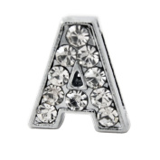 "12x Alphabet Slide Charm, Letter ""A"", 8mm"