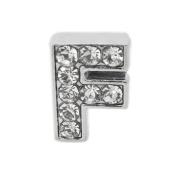"""12x Slide Charm Letter """"F"""",8mm"""